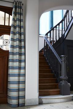 """Ambiance tissu Boston Bleu et store Californien """"Nancy"""" - Collection Heytens 2014"""