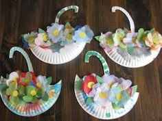 May Day Baskets .Umbrella & Flowers May Day Baskets . Kids Crafts, Daycare Crafts, Classroom Crafts, Easter Crafts, Classroom Ideas, Spring Art, Spring Crafts, Spring Theme, Paper Plate Crafts