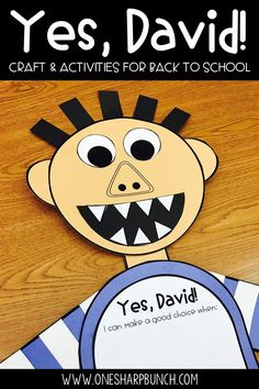Back to School Yes David Activities for Promoting Positive Behavior Kindergarten First Week, First Week Activities, Back To School Activities, Kindergarten Activities, Book Activities, School Ideas, Back To School Highschool, Back To School Art, Back To School Crafts