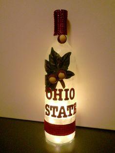 Ohio State Buckeye Wine Bottle with Lights. $36.00, via Etsy.