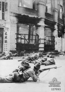 Japanese troops in a street in Kuala Lumpur, 11 January 1942 [Public domain, Australian War Memorial]