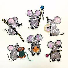 6 шт. изысканный мультфильм кнопка мыши животных небольшие блестки платье/свитер/пальто аксессуары блестками аппликация патчи для одежды