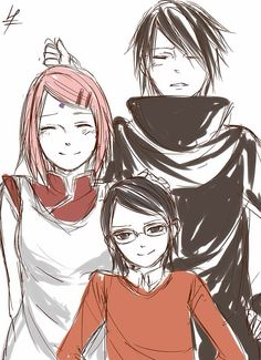 The Uchiha family. I know this looks right since Sakura has loved Sasuke ever since she has known him, but what gets me is the glasses of their daughter. She looks so much like Karin.