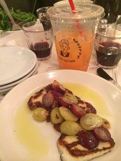 Photo of Jack's Wife Freda - New York, NY, United States. Fresh cantaloupe juice, grilled haloumi, arugula salad