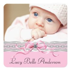Baby Girl Announcement Pearls Pink Baby Girl Birth Announcements