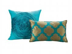 photo homegoods offers decorative teal pillows in satinlike