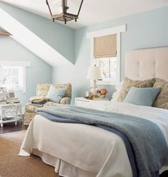 Serene Blue Bedroom - like the idea of this colour paired with soft gray tones