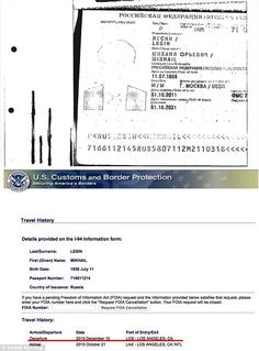 Evidence: Travel documents (pictured) obtained by opposition leader Alexey Navalny appear to show Lesin flying out of LA on December 15, 40 days after his death was registered on November 5