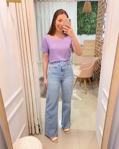 """L O R E T T A S T O R E 🛍 no Instagram: """"#getthelook Calça Wide Jeans R$ 179,90 + Blusa Maísa R$ 89,90 + Cinto Faixa Couro R$ 69,90 👉🏻 www.lorettaoficial.com.br #wideleg #widejeans…"""""""