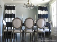 DIY No-Sew Striped Curtains (IKEA panels with black fabric stripes)