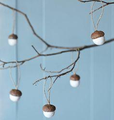 set of ten hand felted acorn decorations by the original pop up shop | notonthehighstreet.com