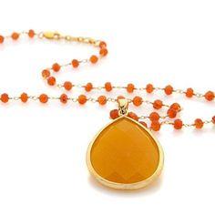 "Rarities Brodie Orange Agate And Carnelian Pendant 18"" Chain #RaritiesFineJewelryWithCarolBrodie #Pendant"