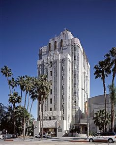 """The art deco Sunset Tower is considered one of the finest examples of the Streamline Moderne form of Art Deco architecture in Southern California. In the guide to Los Angeles architecture,  """"this tower is a first class monument of the Zig Zag Moderne and as much an emblem of Hollywood as the Hollywood sign."""