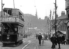 Barnsley town centre with Tram no 10 Barnsley South Yorkshire, Past Life, Home Photo, Sheffield, 19th Century, Nostalgia, Beautiful Places, Places To Visit, Street View