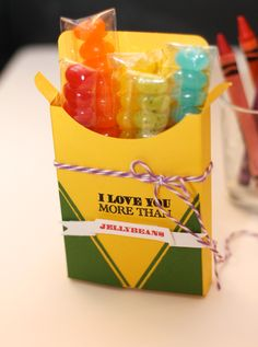 Hand-made crayola box filled with jelly beans, too cute!