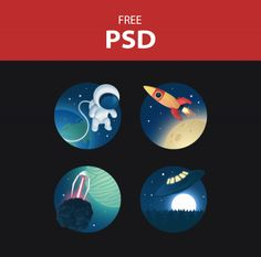 Space Shuttle Icons Set Free PSD