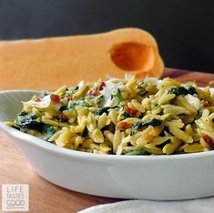 Orzo Pasta with Spinach and Parmesan   Life Tastes Good   ~XOX #MomAndSonCookingTeam