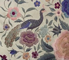Chinese hand-embroidered silk shawl, c1900-1920