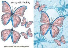 Pretty Turq Butterflies in Pearl Frame on Craftsuprint designed by Nick Bowley - PRETTY TURQ BUTTERFLIES IN PEARL FRAME, Also can be seen in other colours makes a pretty card - Now available for download!