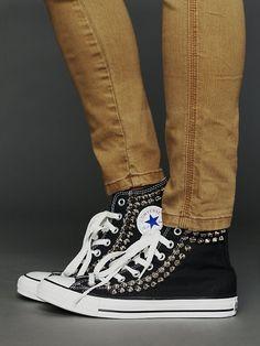 black studded converse high tops