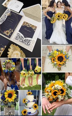 navy blue and yellow sunflower themed wedding ideas with matched wedding invitations Lilac Wedding, Fall Wedding Colors, Yellow Wedding, Wedding Color Schemes, Wedding Bouquets, Dream Wedding, Wedding Day, Wedding Ring, Wedding Flowers