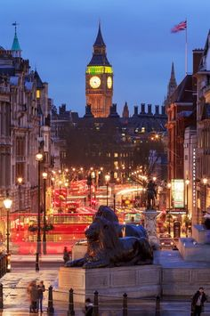Trafalgar Square at Twilight ~ London, England