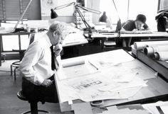 Kahn working on the design of the Fisher House, 1961. THE ARCHITECTURAL ARCHIVES, UNIVERSITY OF PENNSYLVANIA/PHOTO BY GEORGE POHL