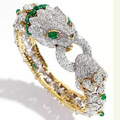 From a New York Collection 18 Karat Gold, Platinum, Emerald and Diamond Bangle-Bracelet, David Webb, circa 1965 Important Jewels   Sotheby's