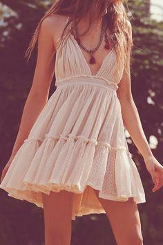 Deep V High Waist Backless Flouncing Dress - OASAP.com