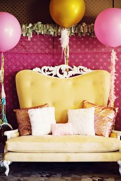 sparkly pillows + big balloons // photo by Weddings by Scott and Dana // View more: http://ruffledblog.com/cookie-decorating-bridal-shower/
