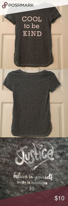 Justice girls graphic tee This shirt was never worn. No stains or rips. Very comfortable material and has stretch. In great condition. Justice Shirts & Tops Tees - Short Sleeve