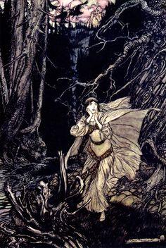 "Bertalda in the Black Valley. ""Undine"" (1909) illustrated by Arthur Rackham"