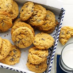 Oat-Rageous Chocolate Chip Cookies Recipe -My aunt gave me this recipe, and my family thinks these cookies are delicious. We enjoy all different kinds of cookies, and with this recipe, we can combine three of our favorite kinds—oatmeal, peanut butter and chocolate chip—in one! —Jaymie Noble, Kalamazoo, Michigan