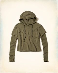 c8367239760 Hollister Layered Crop Hoodie for cold fall nights. (affiliate) Short  Sleeve Hoodie