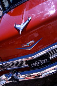 56 Chevrolet Belair 4 door Red white shiny Fine by CheyAnneSexton