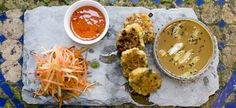 Thai sweetcorn fritters with a homemade sweet chilli dip. Sweet Chilli, Vegan Restaurants, Fritters, Lunches And Dinners, Starters, Brighton, Dip, Curry, Good Food