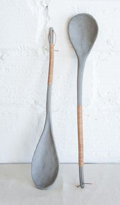 Kati Von Lehman Porcelain and Leather Serving Spoon