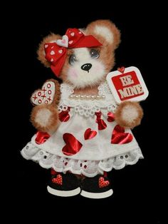 MOMZ Be Mine Valentine Girl Tear Bear Paper Piecing for Premade Scrapbook Page
