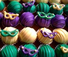 """Cake balls - looks like """"beads"""". Different colors (my muted Mardi Gras colors) and I am not the biggest fan of the masks... but cute idea!"""