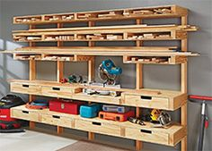 Wood storage ideas garage lumber storage ideas fabulous best images about garage shop ideas on of . Workshop Storage, Workshop Organization, Garage Organization, Garage Storage, Wood Workshop, Workshop Ideas, Storage Drawers, Workshop Cabinets, Workshop Layout
