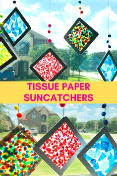 Learn How to Make Tissue Paper Suncatchers. Sun catchers are a simple way to add some color to your window. TISSUE PAPER SUNCATCHERS are a gorgeous Summer craft for kids. Summer Crafts For Kids, Paper Crafts For Kids, Craft Activities For Kids, Art For Kids, Simple Crafts For Kids, Kids Diy, School Age Crafts, Sun Crafts, Tissue Paper Crafts