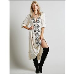 [Free People] Off White Embroidered Dress NWOT I believe clothes should make you feel uniquely stylish & fabulous without sacrificing comfort & quality, which is why I love this floral embroidered off white ivory colored maxi dress from Free People. This gorgeous dress features an empire waist with an adjustable cinch tie, & 3/4-length bubble elasticized sleeves. Metal clasps for a conservative closed or a more relaxed open look. Fabric is soft, flowy, & a little see-through (may need a…