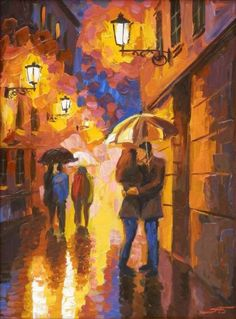 """""""Night. Strolling couples"""" by Alexander Bolotov"""