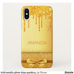 Shop Gold metallic glitter drips sparkle golden name Case-Mate iPhone case created by Thunes. Golden Glitter, Drip Painting, Plastic Case, Tech Accessories, Iphone Case Covers, Apple Iphone, Christmas Gifts, Metallic, Sparkle