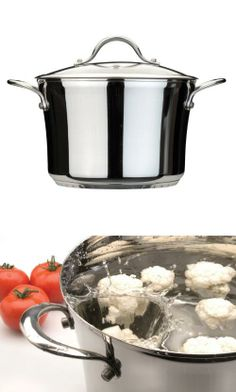 BergHOFF Tulip 10-1/4-Inch Glass Cov Stock Pot, 9.7-Quart Tulip 10-1/4-Inch Glass Cov. Stock Pot 9.7-Quart. Stainless steel. Pre-heat/hand wash. The pot's height and surface area preserves liquids longer and rich flavor from the ingredients. #Berghoff #Kitchen