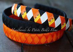 Halloween Headband | Orange and Black Ribbon Headband | Set of 3 Coordinating Ribbon Headbands | Orange and Black Halloween Hair Accessory by PetiteBelleFleur on Etsy