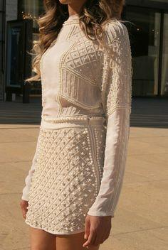 Zara Nude Pearl Blouse + Zara Beige Pearl Skirt
