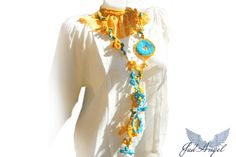 Bohemian choker necklace Sun and blue sky by JadAngel on Etsy