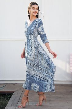 Half sleeve print summer dress long Elastic causal beach women dress maxi 2018 Spring button boho dress female vestidos Material: Viscose Silhouette: Fit and Flare Pattern Type: Print Sleeve Length(cm): Half Decoration: Tassel Dresses Length: Ankle-Length Waistline: Empire Neckline: V-Neck SHIPPING TIME: 12=20 DAYS TO CHOOSE RIGHT SIZE PLEASE SEE THE SIZE CHART Size S / cm M / cm L / cm US 4-6 8-10 12 UK 8 10 12 AU 8 12 12 EU 34-36 38-40 42 Bust Tile 90 94 98 Recom mend 86-90 90-94 94-98…