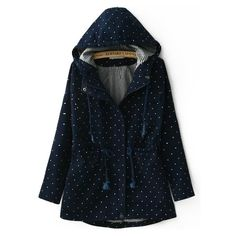 Hooded Polka Dot High Low Navy Coat ($31) ❤ liked on Polyvore featuring outerwear, coats, navy, navy coat, navy blue coat, hooded coats, polka dot coat and short coat